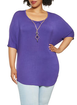 Plus Size Tunic Top with Necklace - 0912062702200