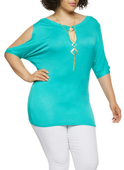 Plus Size Cold Shoulder Top with Necklace - 0912062702201