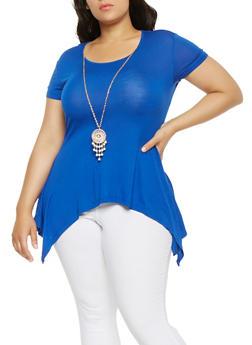 Plus Size Sharkbite Hem Top with Necklace - 0912062702206