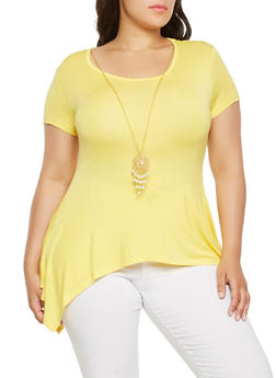 Plus Size Sharkbite Hem Top with Necklace - 0912062702206