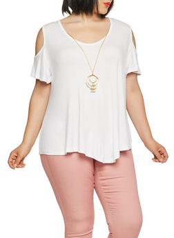 Plus Size Cold Shoulder Top with Necklace - 0912062702207
