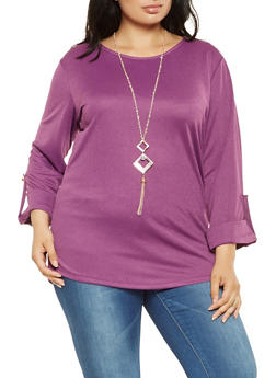 Plus Size Tabbed Sleeve Top with Necklace - 0912062702210