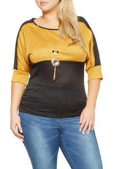 Plus Size Color Block Knit Top with Necklace - 0912062702213