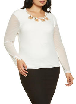 Plus Size Rhinestone Neck Detail Mesh Top - 0912062702260