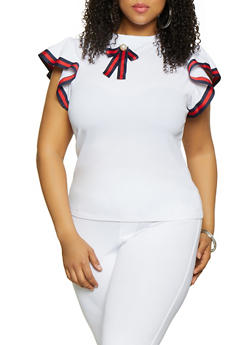 Plus Size Striped Tape Trim Blouse - 0912062702551