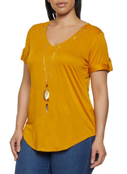 Plus Size Threaded Neckline Solid Tee - 0912062702663
