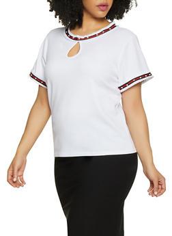 Plus Size Studded Trim Blouse - 0912062702667