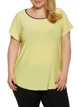 Plus Size Contrast Trim High Low Top - 0912062702695