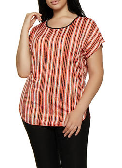 Plus Size High Low Striped Top - 0912062702696