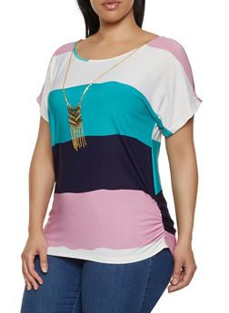 Plus Size Striped Ruched Side Top with Necklace - 0912062702731
