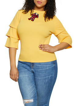 Plus Size Tiered Sleeve Blouse - 0912062702774