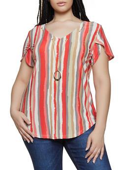Plus Size Striped Threaded Neckline Top - 0912062702784