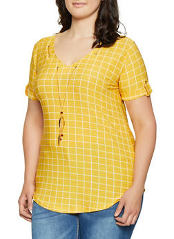 Plus Size Windowpane Plaid Top with Threaded Necklace - 0912062702788