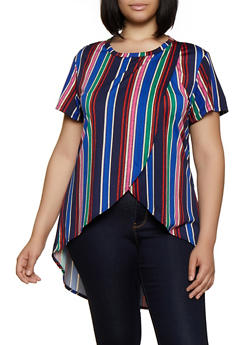 Plus Size Striped Tulip Hem High Low Top - 0912062702790