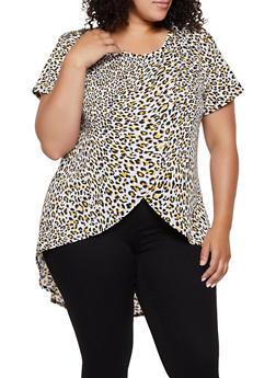 Plus Size Tulip Hem Cheetah Top - 0912062702791