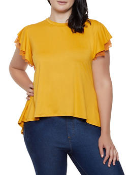 Plus Size Tiered Mesh Sleeve High Low Top - 0912062702893