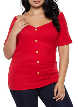 Plus Size Button Detail Off the Shoulder Top - 0912062702970