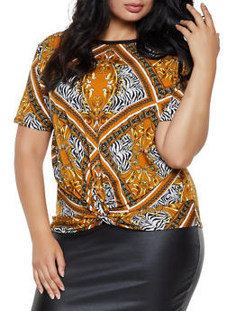 Plus Size Printed Twist Front Top - 0912062702980