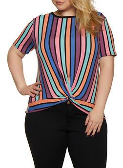 Plus Size Striped Twist Front Tee - 0912062702985