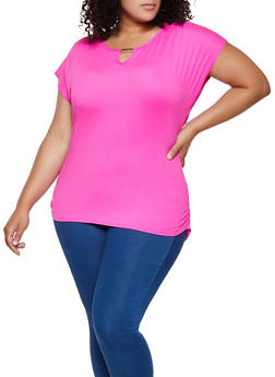 Plus Size Ruched Side Soft Knit Tee - 0912062703005