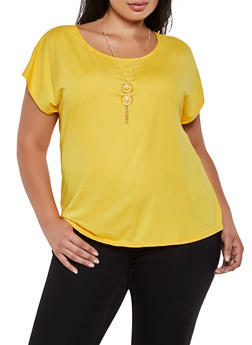 Plus Size Soft Knit Tee with Necklace - 0912062703010