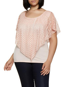 Plus Size Lace Overlay Top - 0912062703035