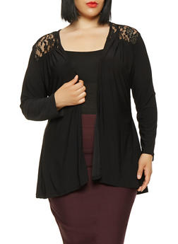 Plus Size Lace Back Cardigan - 0912062705015