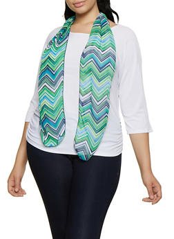 Plus Size Ruched Top with Scarf - 0912062705502