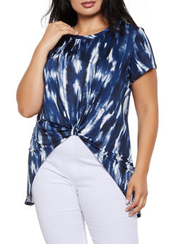 Plus Size Tie Dye Knot Front High Low Tee - 0912062705528