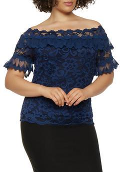 Plus Size Crochet Off the Shoulder Top - 0912062706223