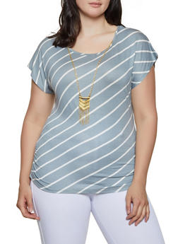 Plus Size Ruched Side Top with Necklace - 0912062706422