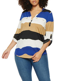Plus Size Striped Tabbed Sleeve Top - 0912062706530