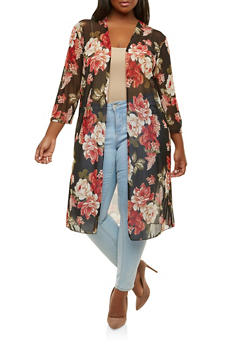 Plus Size Floral Mesh Kimono - 0912062709329