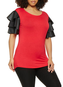 Plus Size Faux Leather Tier Sleeve Top - 0912063400012