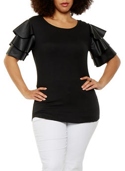 Plus Size Tiered Sleeve Tee - 0912063400912