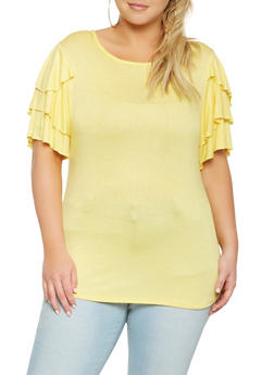 Plus Size Tiered Sleeve Top - 0912063401712