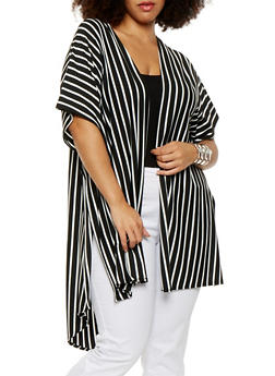Plus Size Striped High Low Duster - 0912063406581