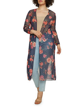 Plus Size Printed Mesh Duster - 0912063406691