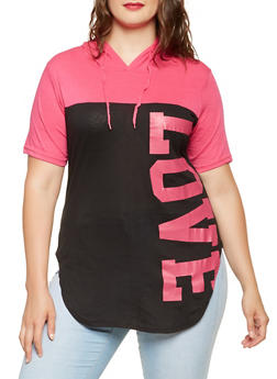 Plus Size Love Graphic Hooded Top - 0912063408417