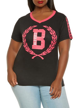 Plus Size Blessed Graphic Tee - 0912063408568