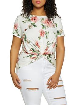 Plus Size Floral Twist Front Tee - 0912066597026