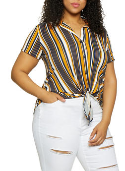 Plus Size Striped Tie Front Shirt - 0912066597027