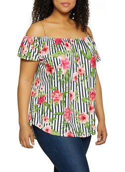 Plus Size Floral Chain Strap Cold Shoulder Top - 0912066597028