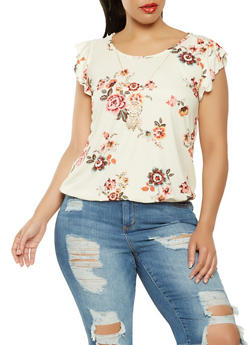 Plus Size Crochet Back Floral Top with Necklace - 0912072240118