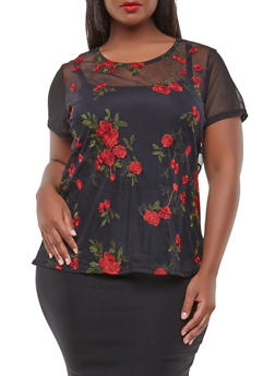 Plus Size Embroidered Mesh Top - 0912072240231