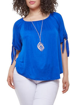 Plus Size Tie Sleeve Top with Necklace - 0912072240342