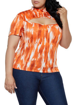 Plus Size Tie Dye Cut Out Mock Neck Top - 0912072240829