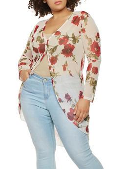 Plus Size Floral Mesh Duster - 0912074010147