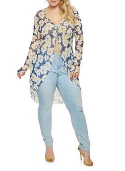 Plus Size Floral Mesh Kimono - 0912074010827