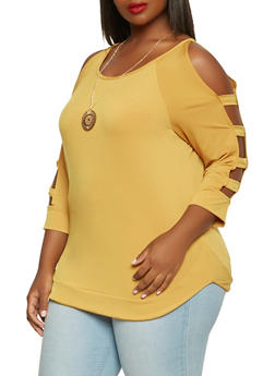Plus Size Caged Sleeve Top with Necklace - 0912074015059